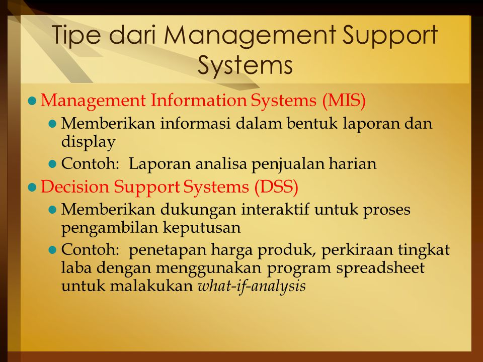 Tipe dari Management Support Systems