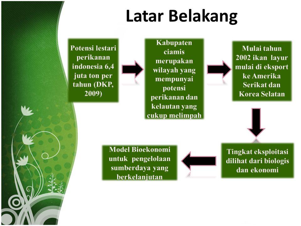 Latar Belakang Potensi lestari perikanan indonesia 6,4 juta ton per tahun (DKP, 2009)