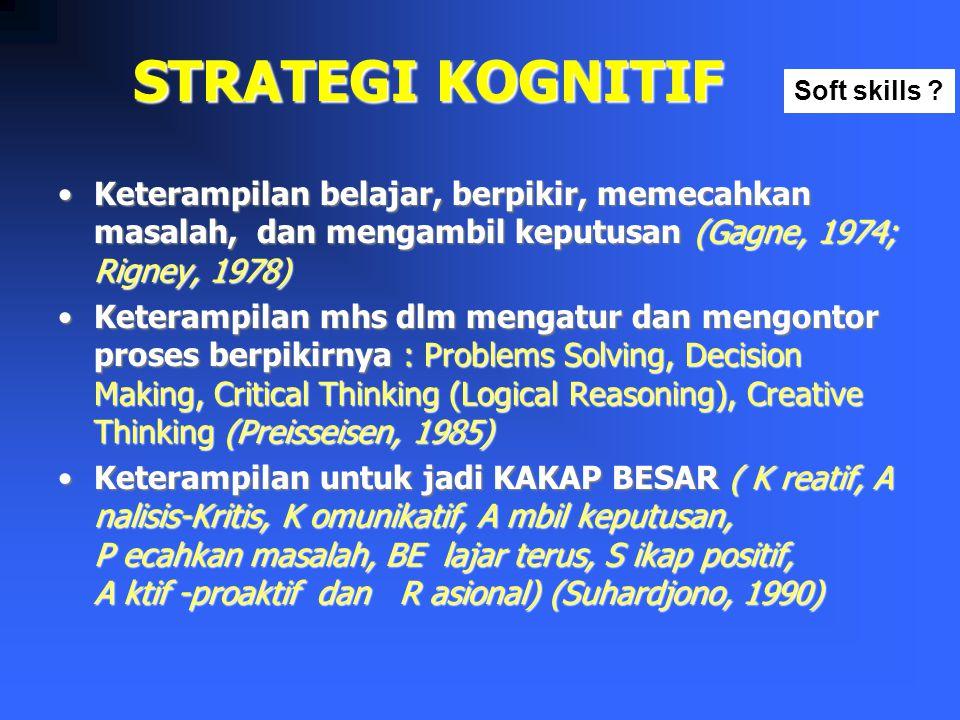 STRATEGI KOGNITIF Soft skills Keterampilan belajar, berpikir, memecahkan masalah, dan mengambil keputusan (Gagne, 1974; Rigney, 1978)