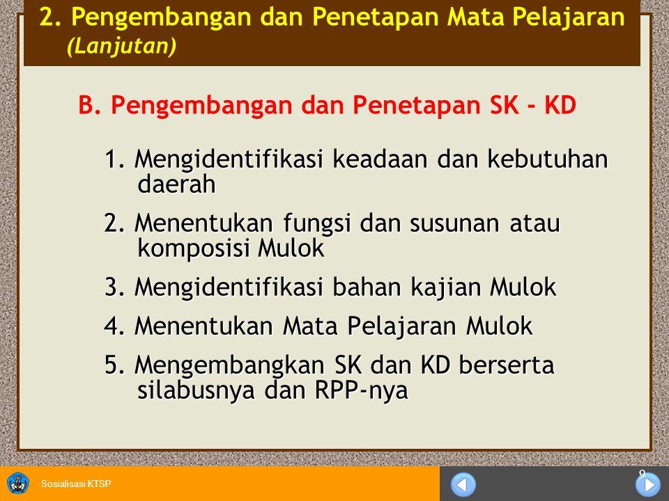 B. Pengembangan dan Penetapan SK - KD