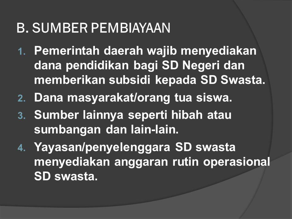 B. SUMBER PEMBIAYAAN Pemerintah daerah wajib menyediakan dana pendidikan bagi SD Negeri dan memberikan subsidi kepada SD Swasta.