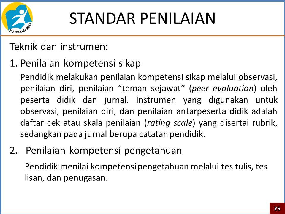 STANDAR PENILAIAN Teknik dan instrumen: Penilaian kompetensi sikap