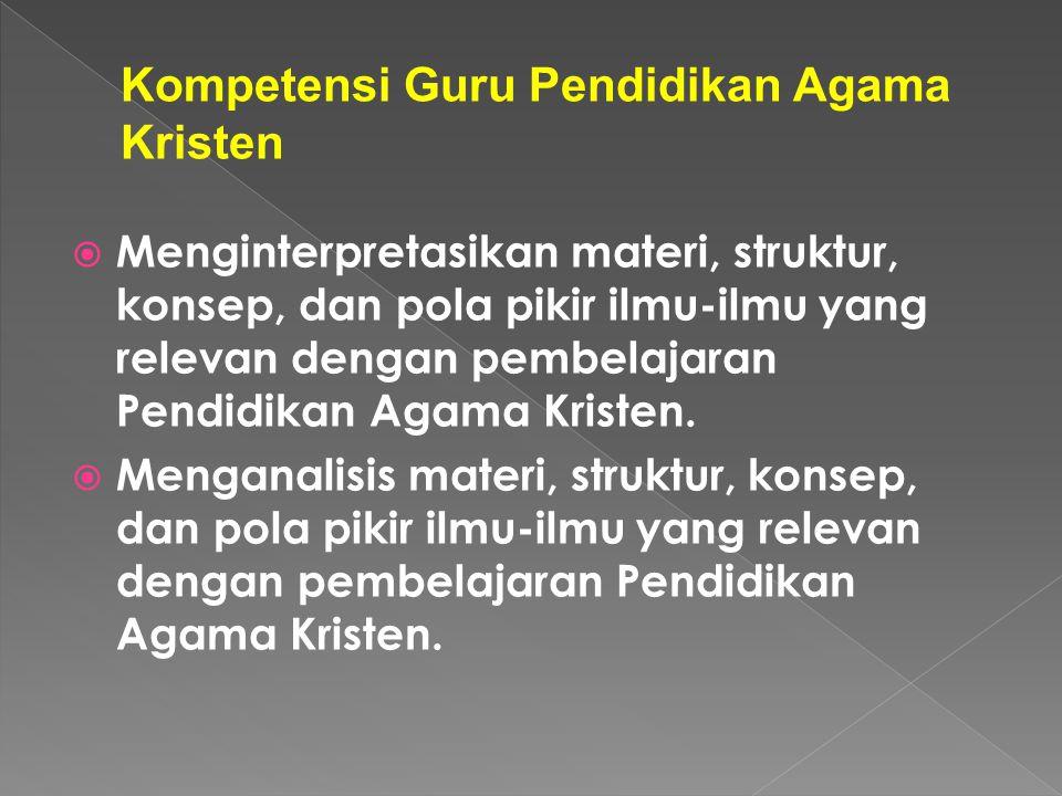 Kompetensi Guru Pendidikan Agama Kristen