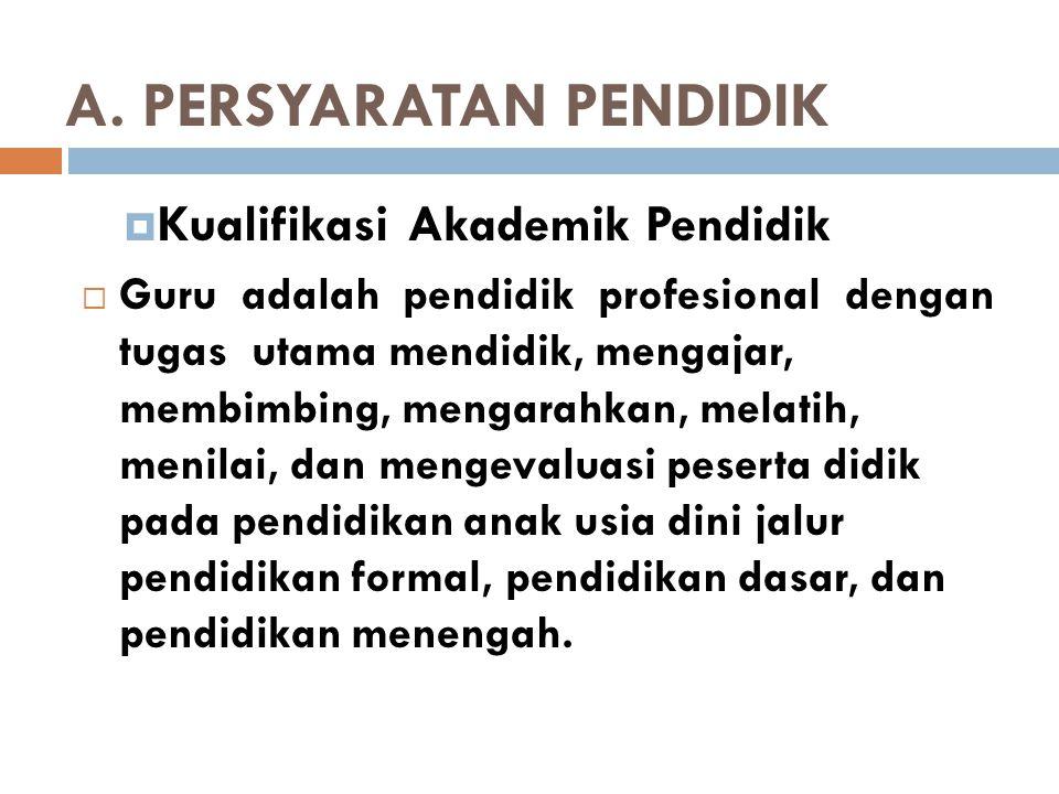 A. PERSYARATAN PENDIDIK