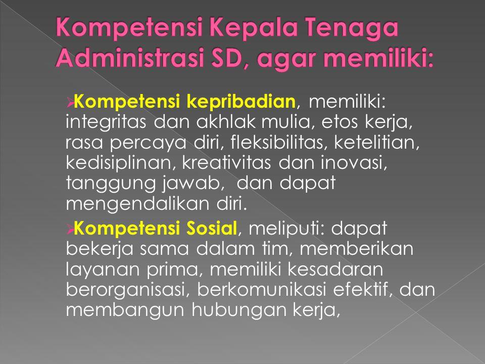 Kompetensi Kepala Tenaga Administrasi SD, agar memiliki: