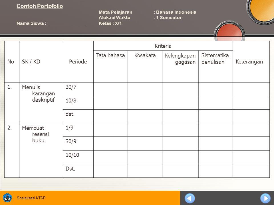 Contoh Portofolio. Mata Pelajaran. : Bahasa Indonesia. Alokasi Waktu
