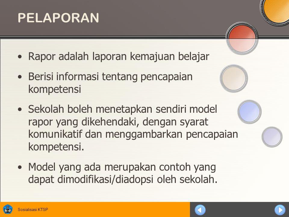 PELAPORAN Rapor adalah laporan kemajuan belajar