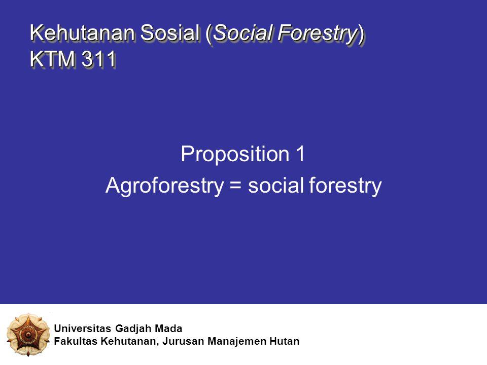 Kehutanan Sosial (Social Forestry) KTM 311