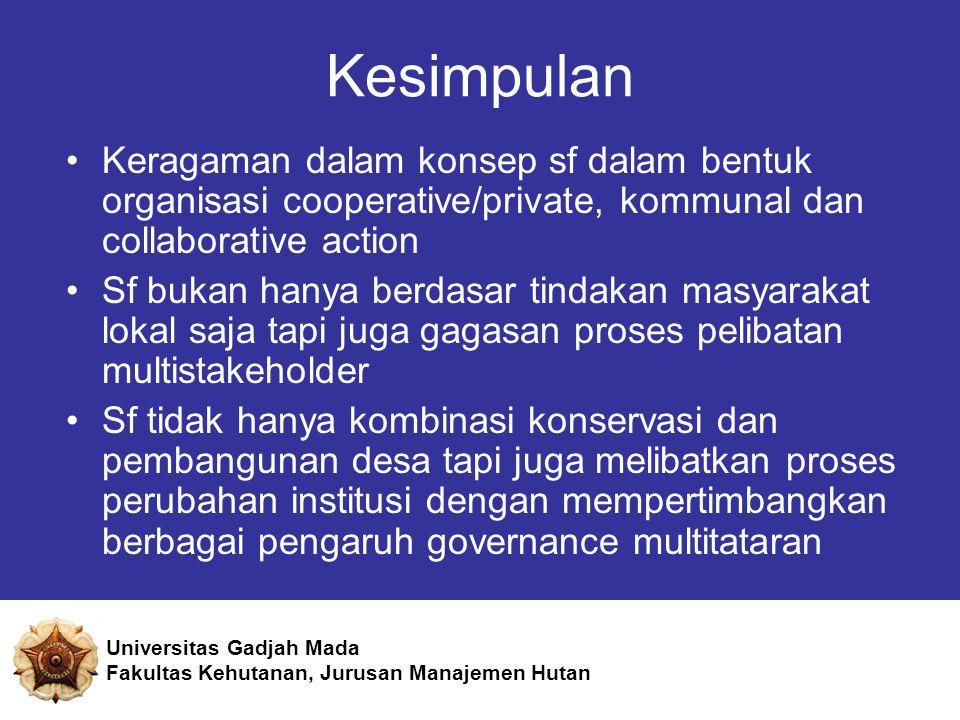Kesimpulan Keragaman dalam konsep sf dalam bentuk organisasi cooperative/private, kommunal dan collaborative action.
