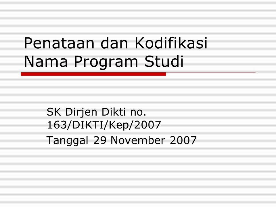 Penataan dan Kodifikasi Nama Program Studi