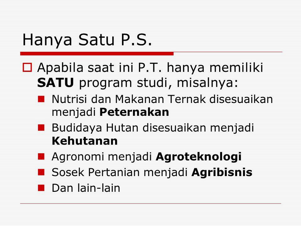 Hanya Satu P.S. Apabila saat ini P.T. hanya memiliki SATU program studi, misalnya: Nutrisi dan Makanan Ternak disesuaikan menjadi Peternakan.