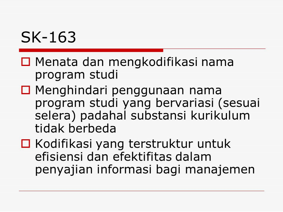 SK-163 Menata dan mengkodifikasi nama program studi