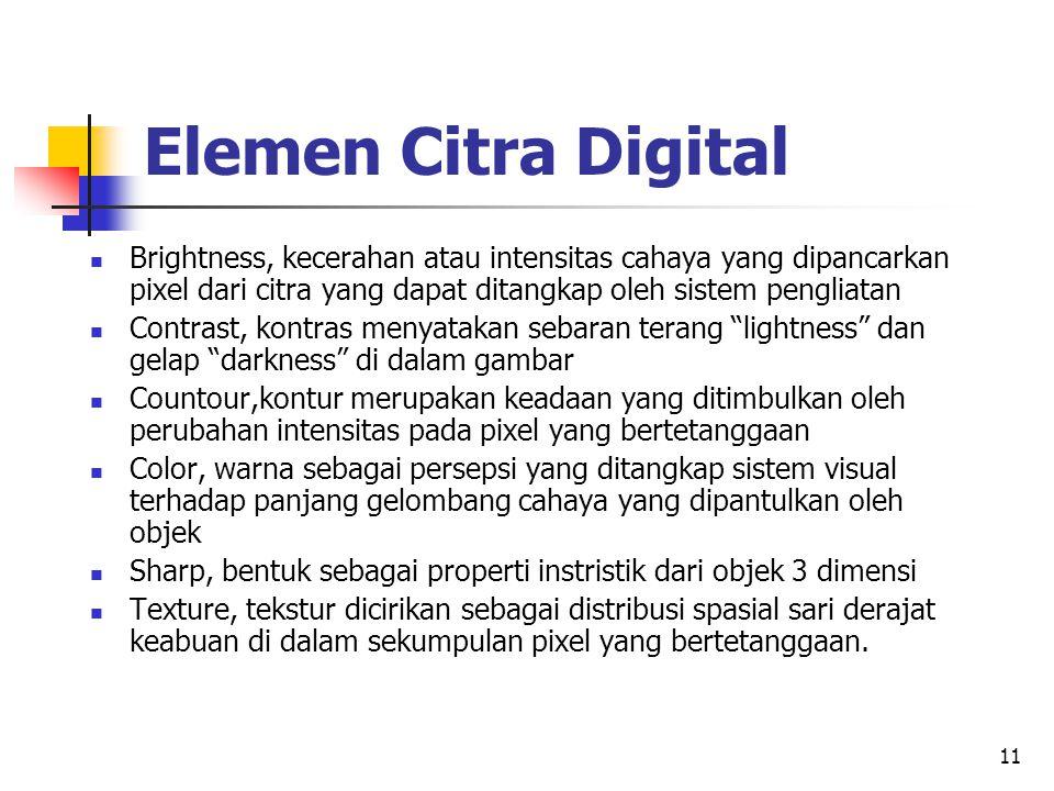 Elemen Citra Digital Brightness, kecerahan atau intensitas cahaya yang dipancarkan pixel dari citra yang dapat ditangkap oleh sistem pengliatan.