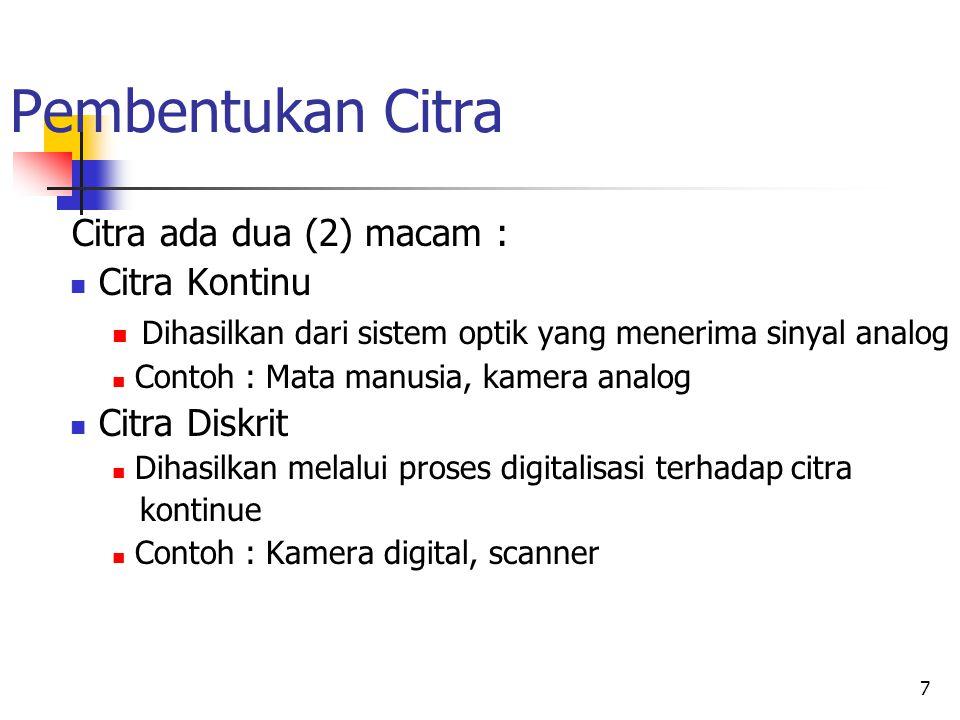 Pembentukan Citra Citra ada dua (2) macam : Citra Kontinu
