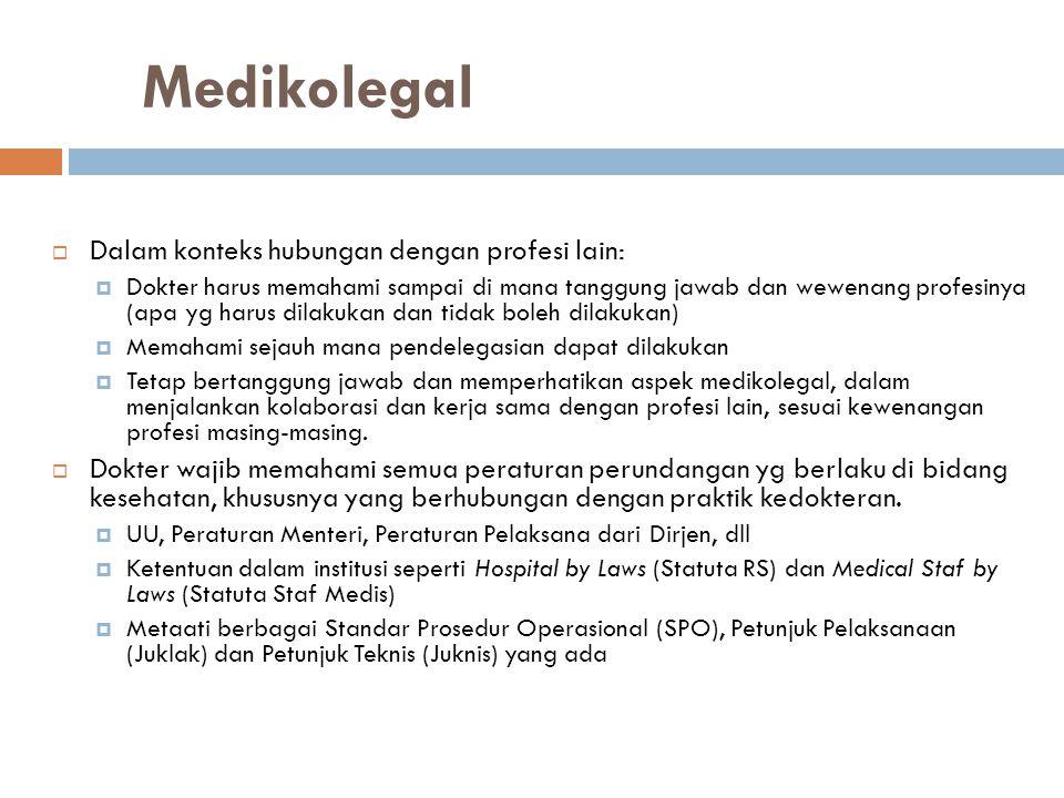 Medikolegal Dalam konteks hubungan dengan profesi lain: