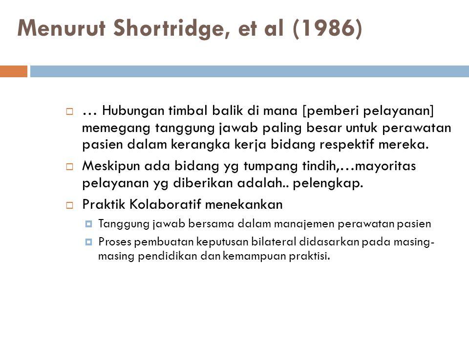 Menurut Shortridge, et al (1986)