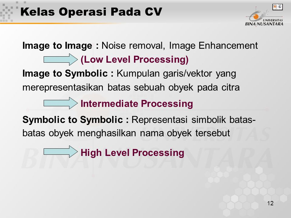 Kelas Operasi Pada CV Image to Image : Noise removal, Image Enhancement. (Low Level Processing) Image to Symbolic : Kumpulan garis/vektor yang.