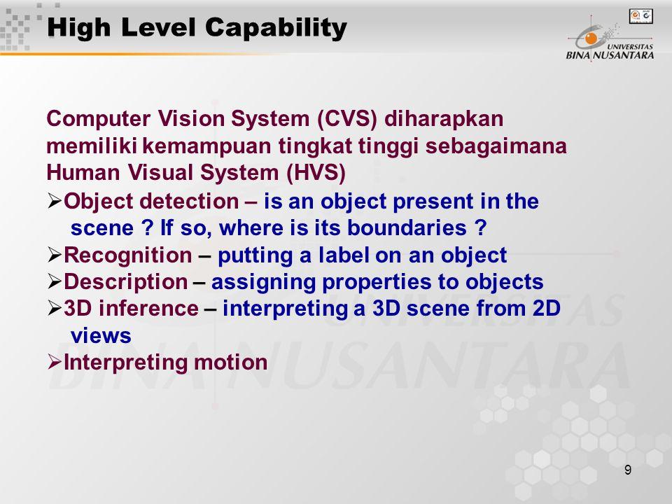 High Level Capability Computer Vision System (CVS) diharapkan memiliki kemampuan tingkat tinggi sebagaimana Human Visual System (HVS)