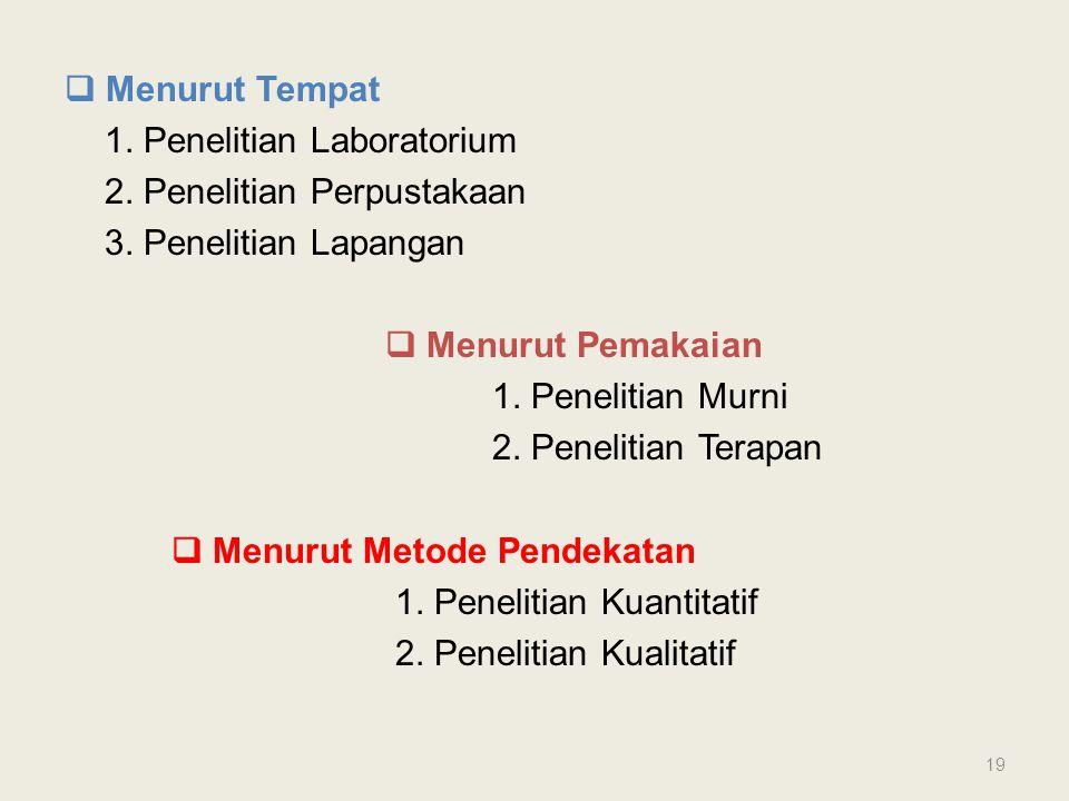  Menurut Tempat 1. Penelitian Laboratorium 2