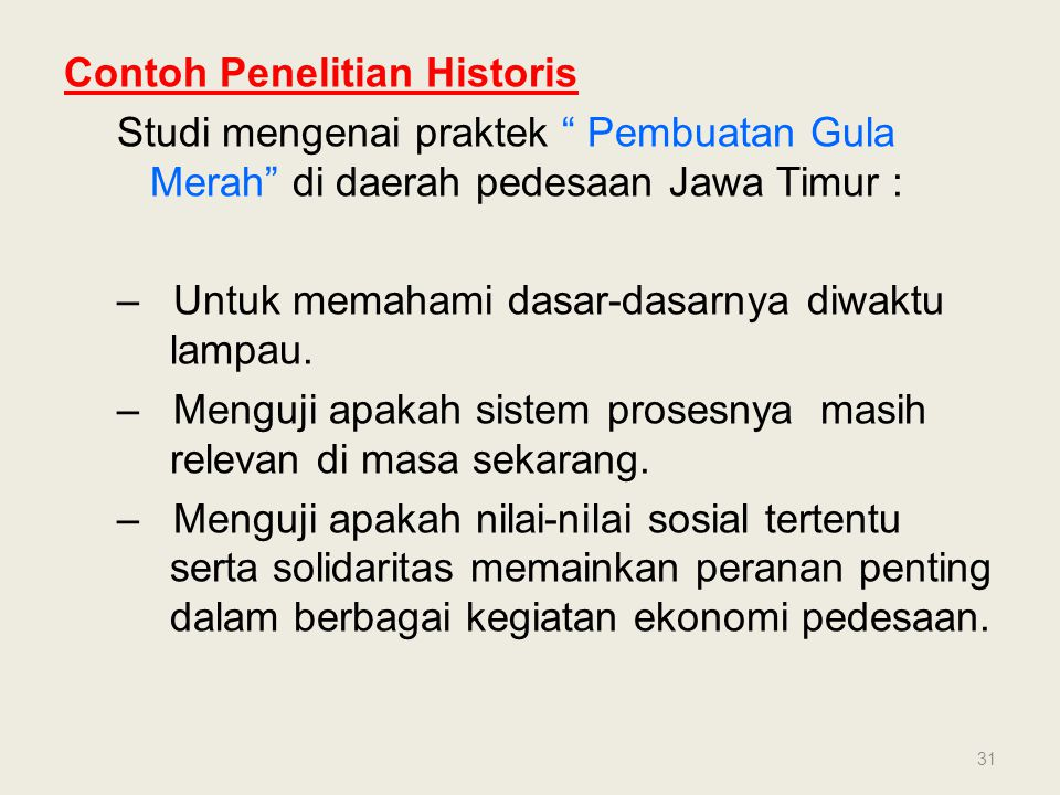Contoh Penelitian Historis