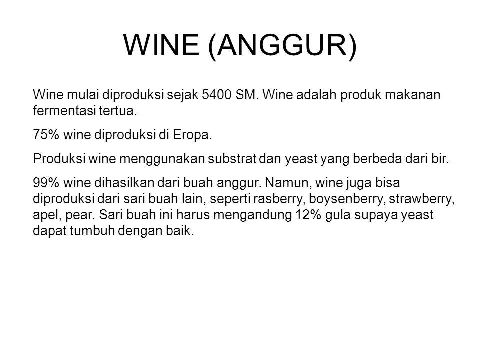 WINE (ANGGUR) Wine mulai diproduksi sejak 5400 SM. Wine adalah produk makanan fermentasi tertua. 75% wine diproduksi di Eropa.