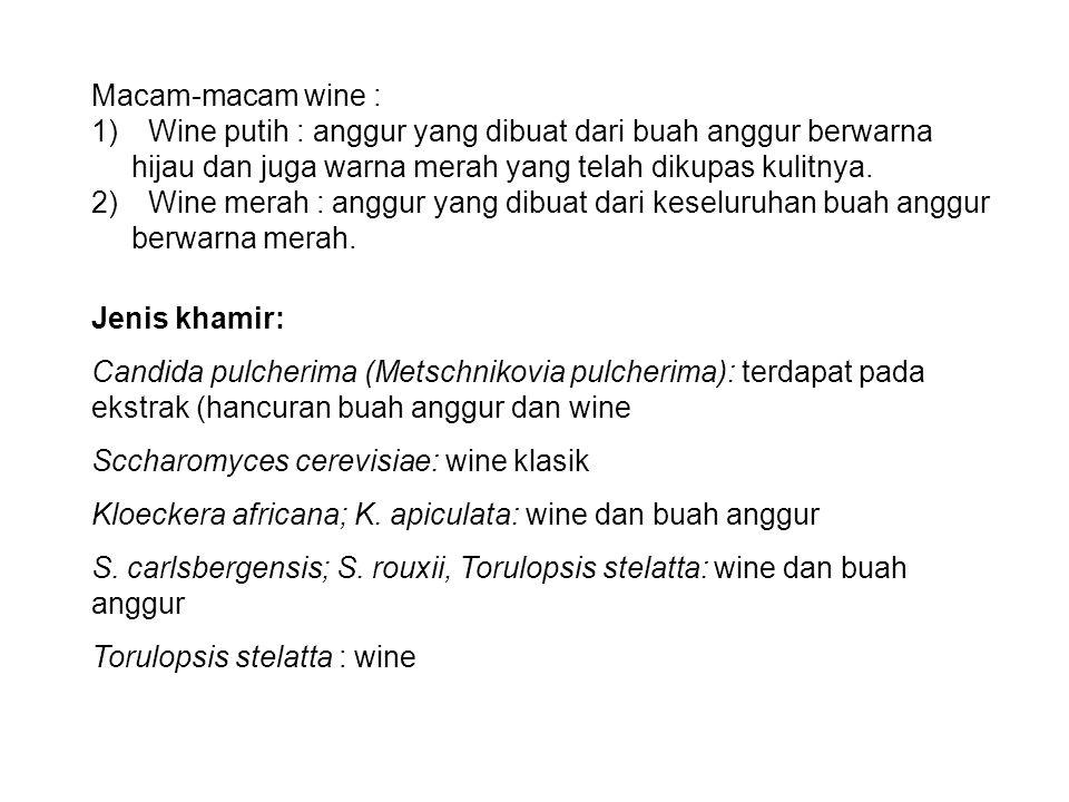 Macam-macam wine : Wine putih : anggur yang dibuat dari buah anggur berwarna hijau dan juga warna merah yang telah dikupas kulitnya.