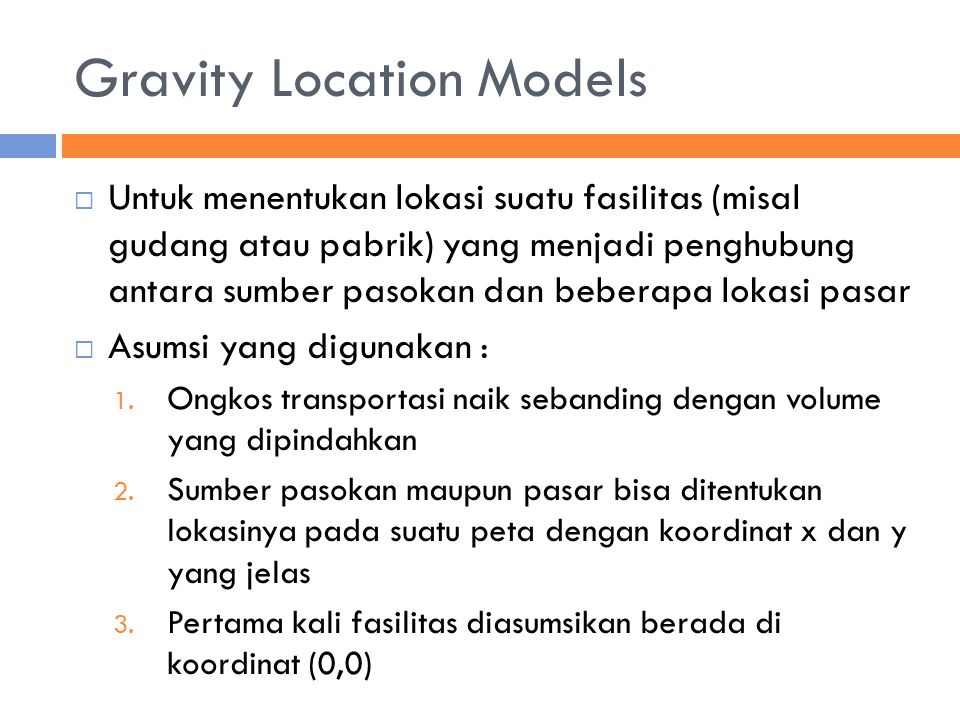 Gravity Location Models