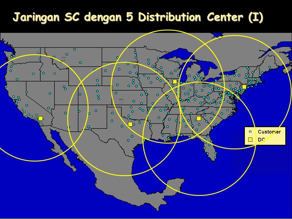 Jaringan SC dengan 5 Distribution Center (I)