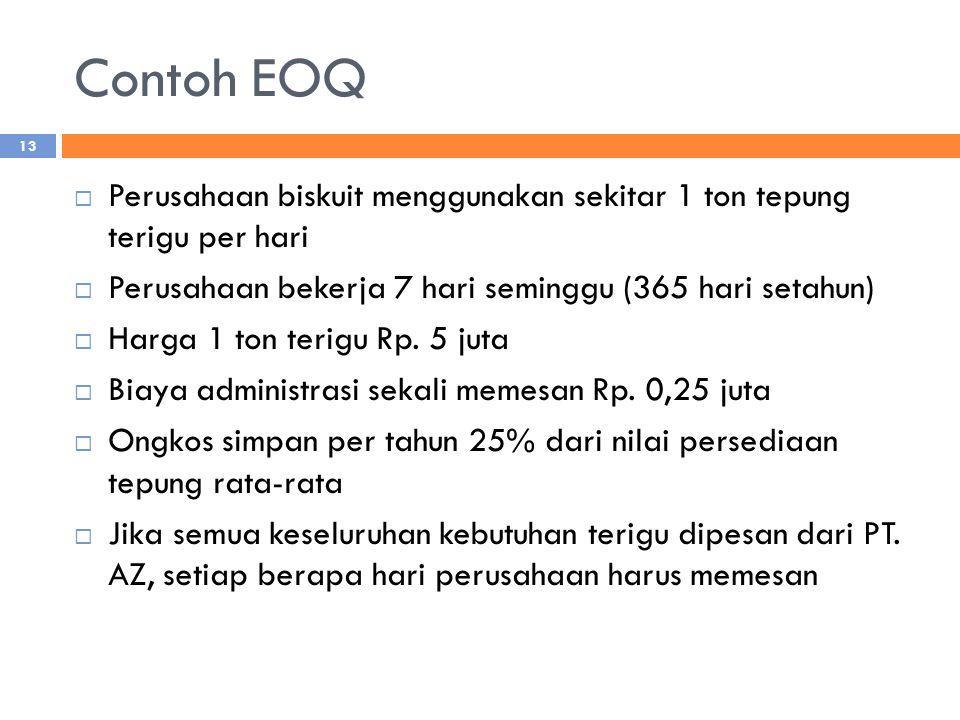 Contoh EOQ Perusahaan biskuit menggunakan sekitar 1 ton tepung terigu per hari. Perusahaan bekerja 7 hari seminggu (365 hari setahun)