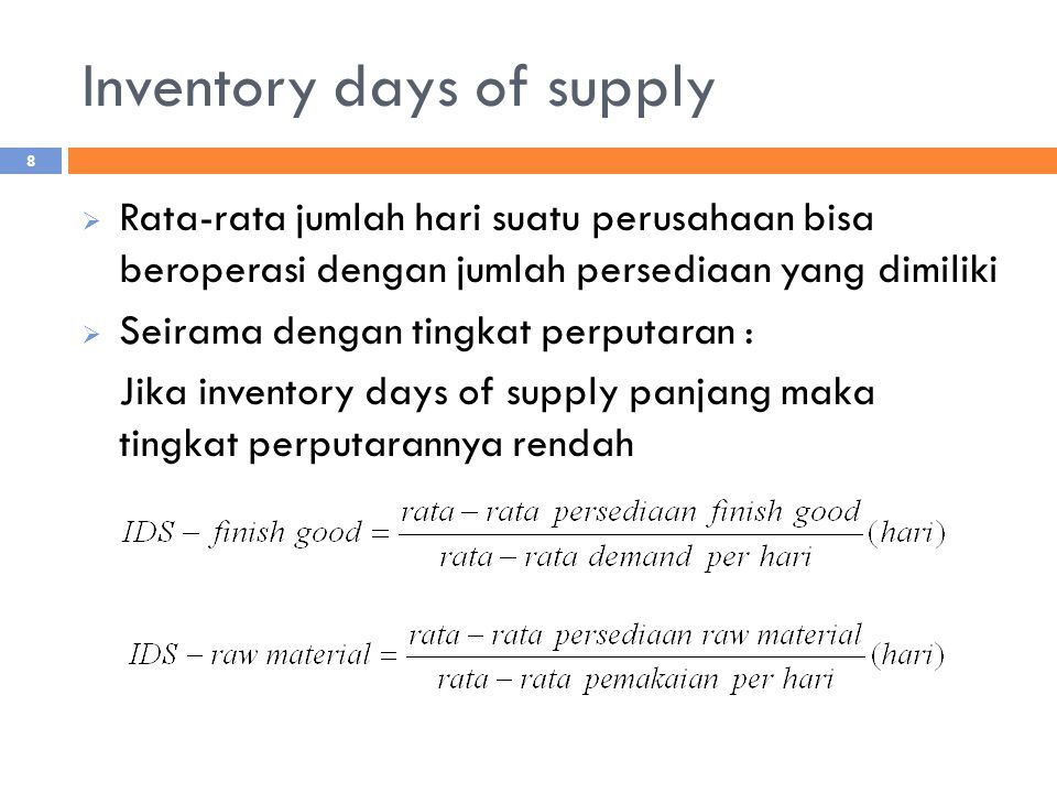 Inventory days of supply