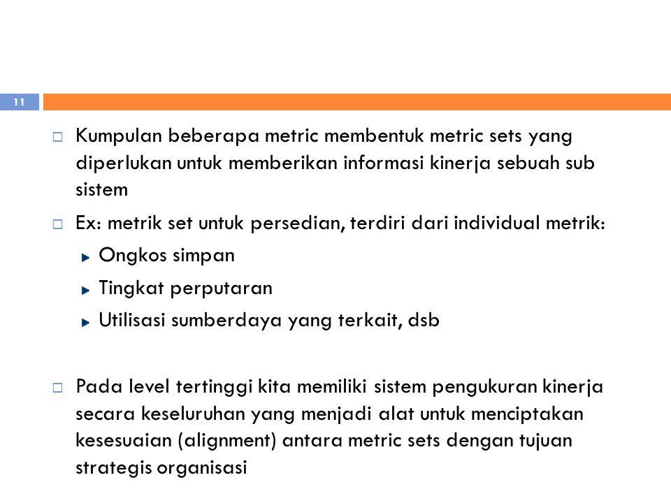 Kumpulan beberapa metric membentuk metric sets yang diperlukan untuk memberikan informasi kinerja sebuah sub sistem