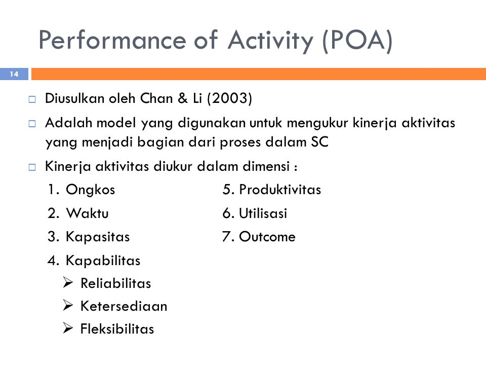 Performance of Activity (POA)