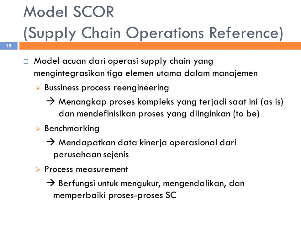 Model SCOR (Supply Chain Operations Reference)