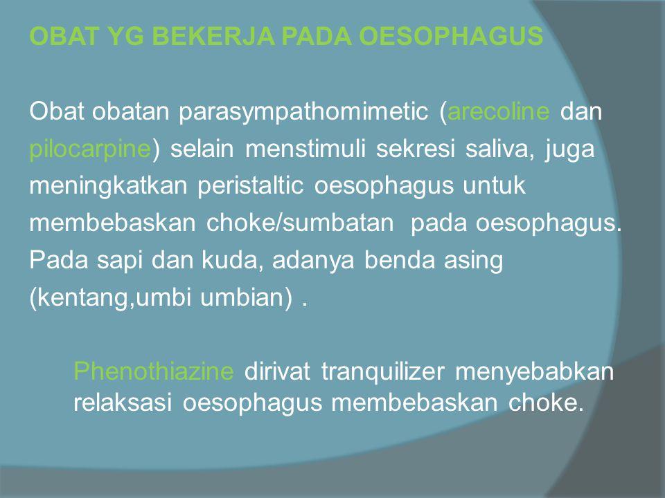 OBAT YG BEKERJA PADA OESOPHAGUS Obat obatan parasympathomimetic (arecoline dan pilocarpine) selain menstimuli sekresi saliva, juga meningkatkan peristaltic oesophagus untuk membebaskan choke/sumbatan pada oesophagus.