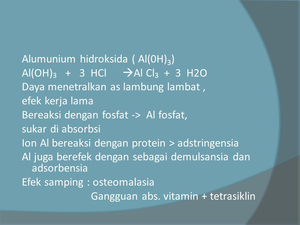 Alumunium hidroksida ( Al(0H)3)
