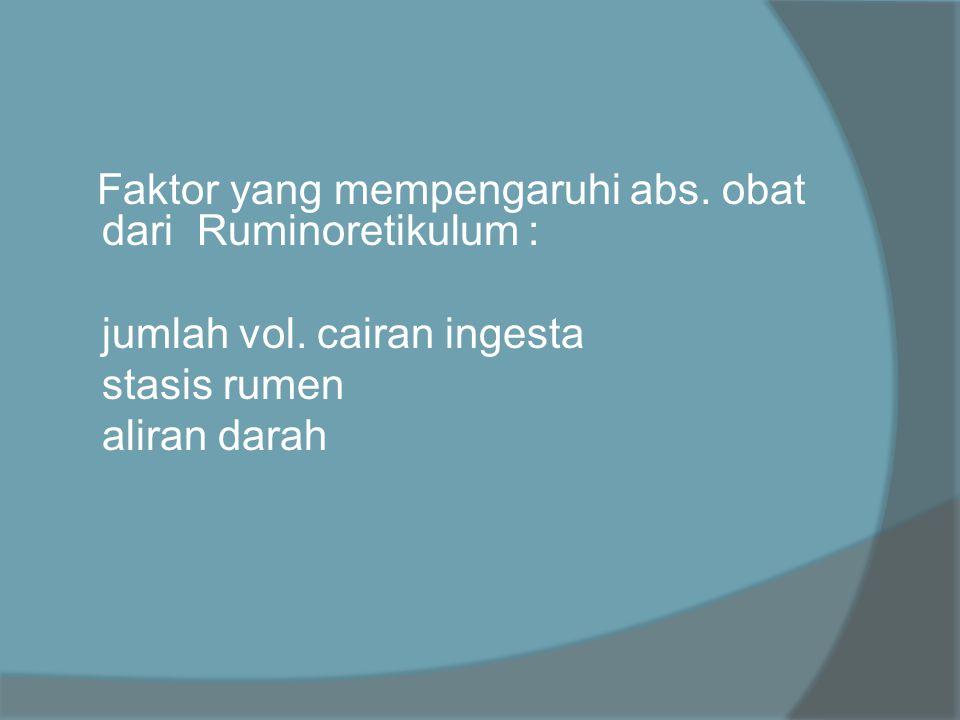 Faktor yang mempengaruhi abs. obat dari Ruminoretikulum :