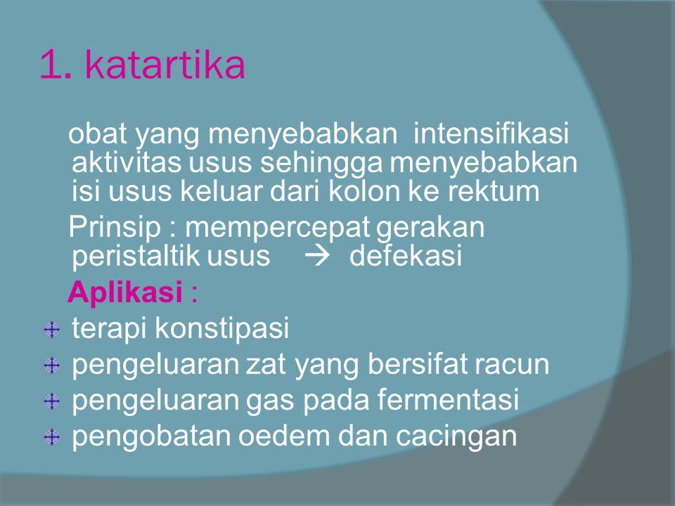 1. katartika obat yang menyebabkan intensifikasi aktivitas usus sehingga menyebabkan isi usus keluar dari kolon ke rektum.