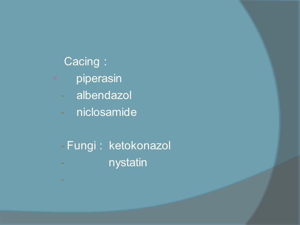 Cacing : piperasin albendazol niclosamide Fungi : ketokonazol nystatin