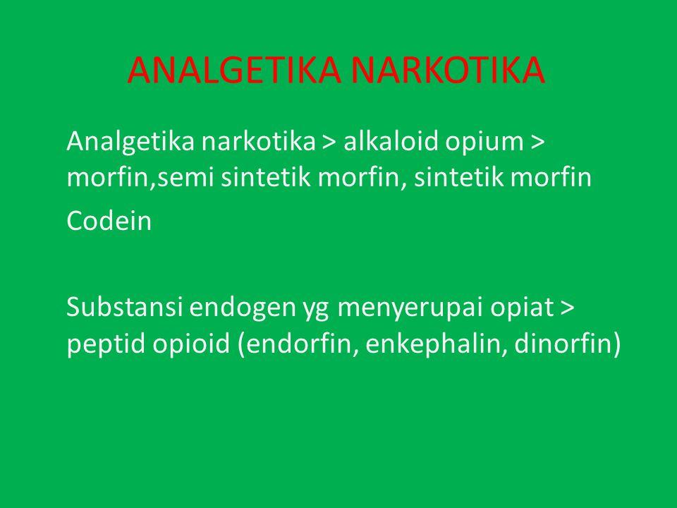 ANALGETIKA NARKOTIKA Analgetika narkotika > alkaloid opium > morfin,semi sintetik morfin, sintetik morfin.