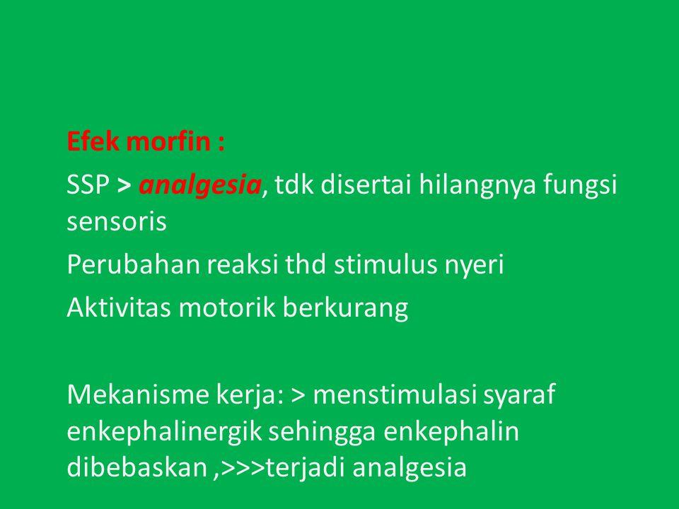 Efek morfin : SSP > analgesia, tdk disertai hilangnya fungsi sensoris. Perubahan reaksi thd stimulus nyeri.
