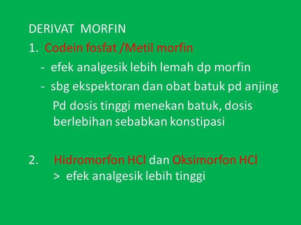 DERIVAT MORFIN 1. Codein fosfat /Metil morfin. - efek analgesik lebih lemah dp morfin. - sbg ekspektoran dan obat batuk pd anjing.