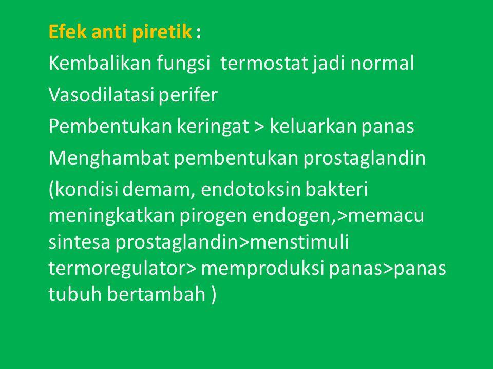 Efek anti piretik : Kembalikan fungsi termostat jadi normal. Vasodilatasi perifer. Pembentukan keringat > keluarkan panas.