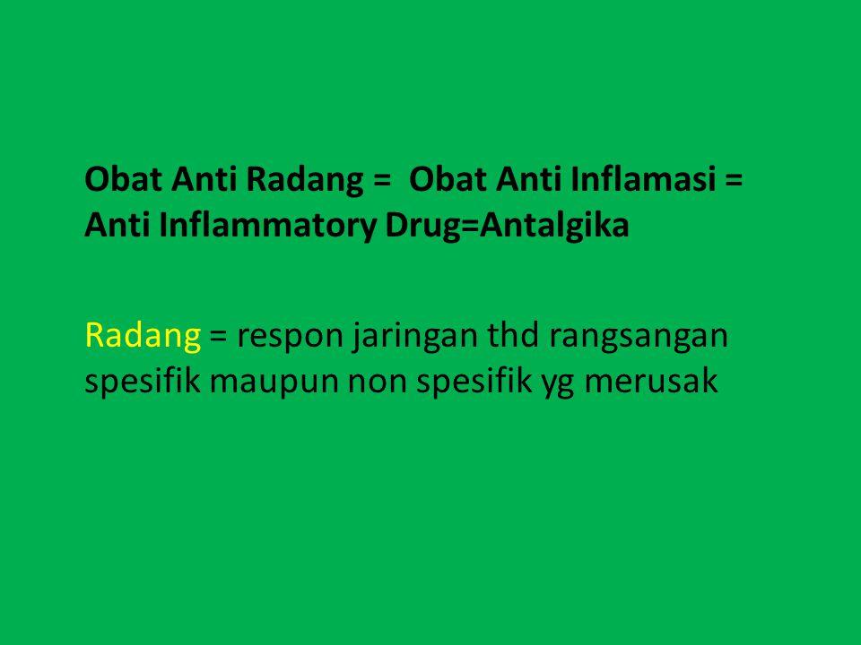 Obat Anti Radang = Obat Anti Inflamasi = Anti Inflammatory Drug=Antalgika