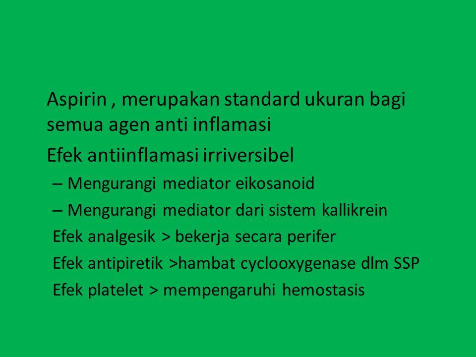 Aspirin , merupakan standard ukuran bagi semua agen anti inflamasi