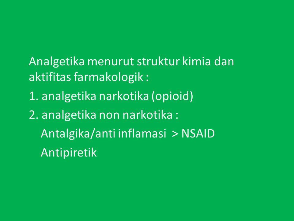 Analgetika menurut struktur kimia dan aktifitas farmakologik :