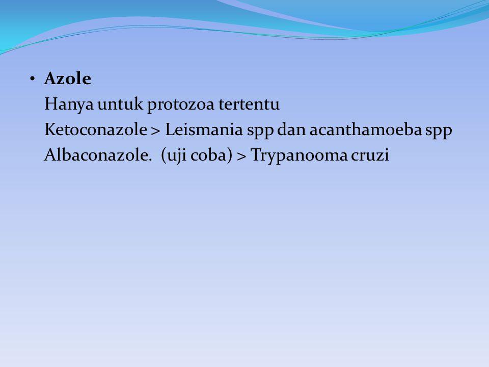 Azole Hanya untuk protozoa tertentu. Ketoconazole > Leismania spp dan acanthamoeba spp.