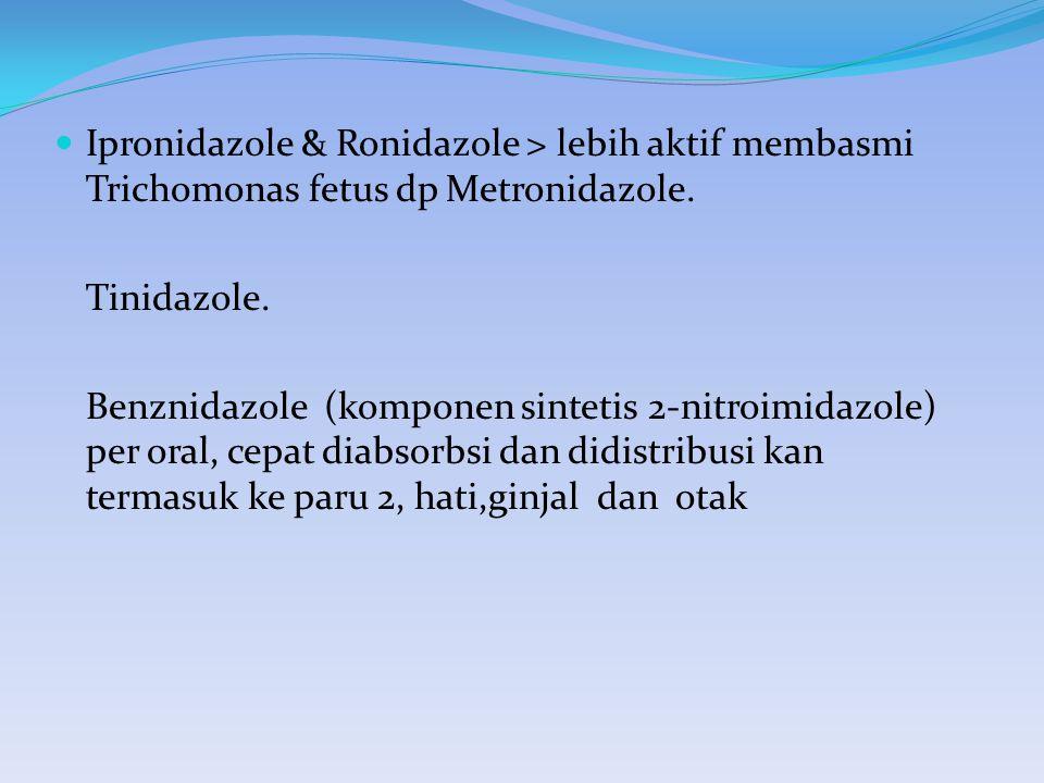 Ipronidazole & Ronidazole > lebih aktif membasmi Trichomonas fetus dp Metronidazole.