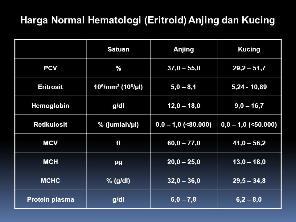 Harga Normal Hematologi (Eritroid) Anjing dan Kucing