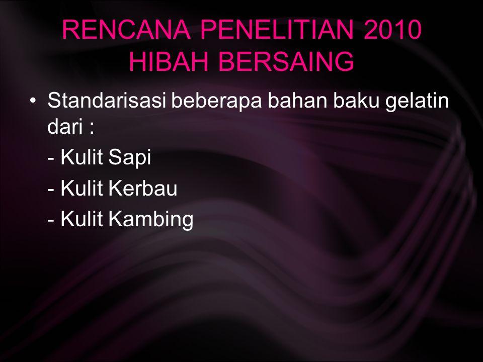 RENCANA PENELITIAN 2010 HIBAH BERSAING