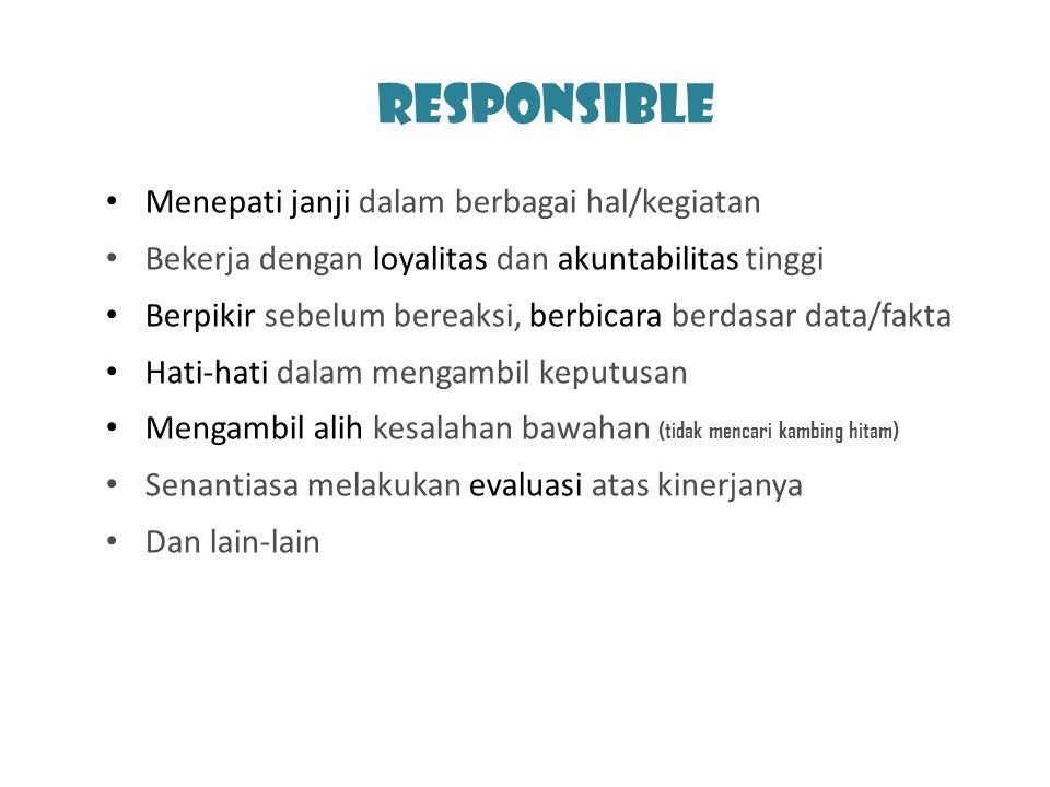 Responsible Menepati janji dalam berbagai hal/kegiatan